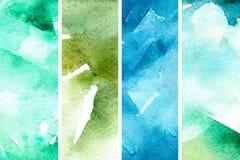 Grön bakgrund för vattenfärg Organisk vattenfärgbakgrund i abstrakt stil vektor illustrationer