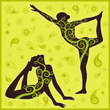 Grön bakgrund för yoga Royaltyfri Bild
