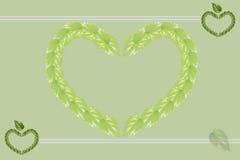 Grön bakgrund Hjärtaform komponerar av gröna blad Vektor Illustrationer
