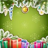 Grön bakgrund med julgåvor vektor illustrationer
