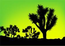 Grön bakgrundstreesilhouette Arkivbild
