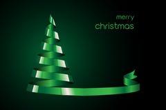 grön bandtree för jul Arkivfoto