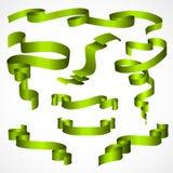 Grön banduppsättning som isoleras på vitbakgrund Royaltyfria Bilder