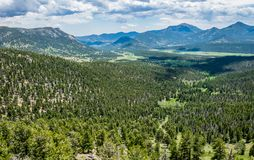 grön bergdal Sommar i de steniga bergen Fotografering för Bildbyråer