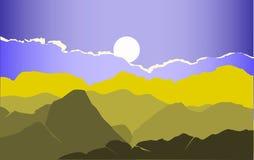 Grön berglandskapvektor med en ljus solnedgång vektorillustration i gräsplanblåttsignaler Royaltyfri Bild