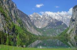 Grön bergsjö Mittersee Avspegla de alpina snö-korkade maxima arkivbilder
