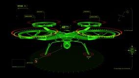 Grön beståndsdel för diagram för manöverenhet för HUD 3D surrhologram vektor illustrationer