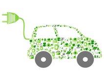 Grön bil för ecomodellsymbol Arkivfoto