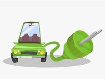 Grön bil för elkraft jätte- propp vektor illustrationer