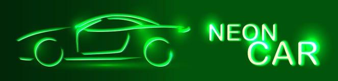 Grön bil för neon rengöringsduk för jordklotlogovektor Linjär auto illustration på en svart Arkivfoto