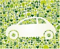 Grön bil med ecosymbolsuppsättningen Fotografering för Bildbyråer