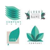 Grön bladlogotipesuppsättning royaltyfri illustrationer