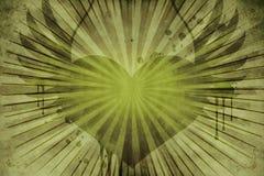Grön blom- tappninghjärta Arkivfoto