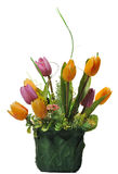 Grön blomkruka med konstgjorda blommor Arkivbilder