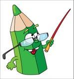 grön blyertspennaskola royaltyfri illustrationer