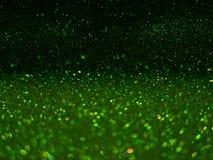 Grön bokeh, abstrakta defocused ljus Arkivfoto