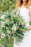 Grön bröllopbukett Fotografering för Bildbyråer
