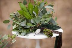 Grön bröllopbukett Royaltyfri Foto