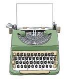 Grön brittisk skrivmaskin med den pappers- gulliga illustrationen Arkivbilder