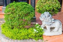 Grön buske med lejonstatyn av stenen royaltyfri foto