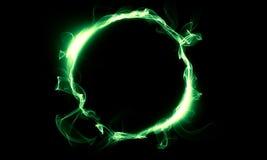 Grön cirkel som består av en rök Det magiska tinget fantasi Fotografering för Bildbyråer