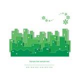 Grön cityscapeillustration för ekologi Arkivbild