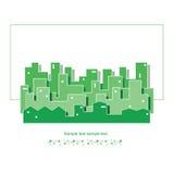 Grön cityscapeillustration för ekologi Royaltyfria Bilder