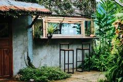Grön coffee shop i laotiskt royaltyfria bilder