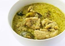 Grön curry med fisken klumpa ihop sig Arkivbild