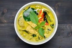 Grön curry med höna fotografering för bildbyråer