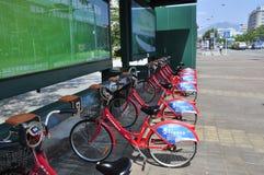 Grön cykel Arkivbild