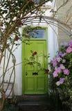 Grön dörr med vanliga hortensior royaltyfria foton