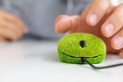 Grön datormus Fotografering för Bildbyråer