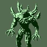 Grön demon med grov spikställningar som är klara att anfalla också vektor för coreldrawillustration stock illustrationer
