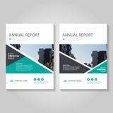 Grön design för mall för reklamblad för broschyr för vektorårsrapportbroschyr, bokomslagorienteringsdesign, blåa presentationsmal Fotografering för Bildbyråer