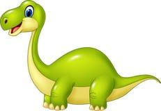 Grön dinosaurie för tecknad film som isoleras på vit bakgrund Arkivbild