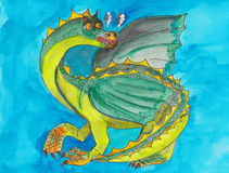 Grön drake royaltyfri illustrationer