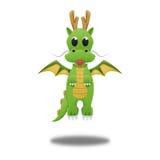 Grön drake för gullig tecknad film för illustration av papperssnittet Royaltyfri Fotografi