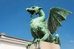 Grön drake på drakebron i Ljubljana Royaltyfria Bilder