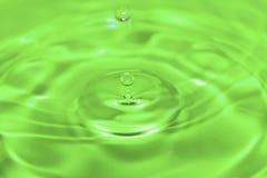 Grön droppe i grönt vatten royaltyfri bild