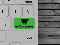 Grön E-kommers knapp på datortangentbordet stock illustrationer