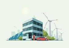 Grön Eco kontorsbyggnad med elbilar, solpaneler Royaltyfri Bild