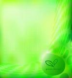 Grön ecobakgrund med bladsymbol Vektor Illustrationer