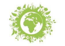 Grön ecoplanetjord med fauna- och floravektorn stock illustrationer