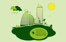 Grön ecostad - abstrakt ekologistad Arkivbild