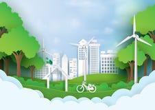Grön ecostad med stil för konst för papper för naturbakgrundsmall stock illustrationer