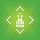Grön energi med vindturbiner och solpaneler Fotografering för Bildbyråer