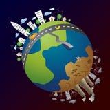 Grön energi och förorening Arkivbilder