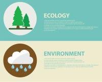 Grön energi och förorening stock illustrationer