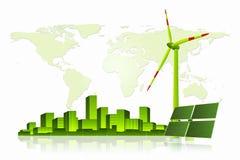 Grön energi - solpanel, vindturbin och Cityscape Arkivbild